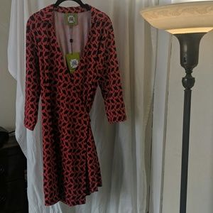 Elizabeth McKay red/navy wrap dress - NWT - size L